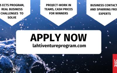 Lahti Venture Program vol. 5 – ilmoittautuminen auki